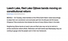 Leech Lake, Red Lake Ojibwe bands moving on constitutional reform
