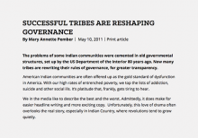 Successful Tribes Are Reshaping Governance