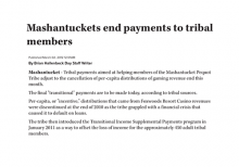 Mashantuckets end payments to tribal members