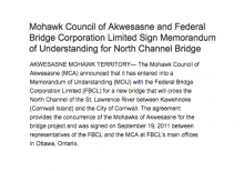Mohawk Council of Akwesasne and Federal Bridge Corporation Limited Sign Memorandum of Understanding for North Channel Bridge