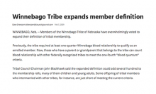Winnebago Tribe expands member definition