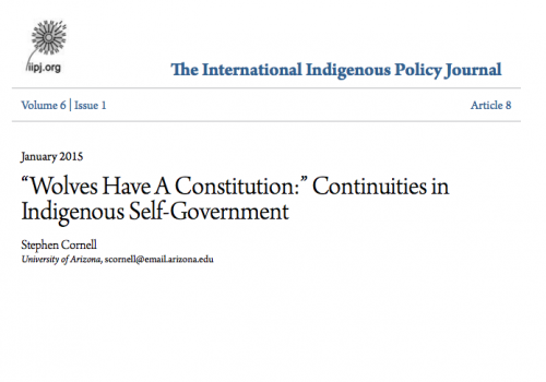 "Wolves Have A Constitution:"" Continuities in Indigenous Self-Government"