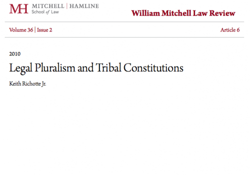 Legal Pluralism and Tribal Constitutions
