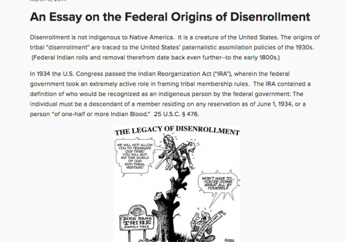 An Essay On The Federal Origins Of Disenrollment  Indigenous  An Essay On The Federal Origins Of Disenrollment  Indigenous Governance  Database