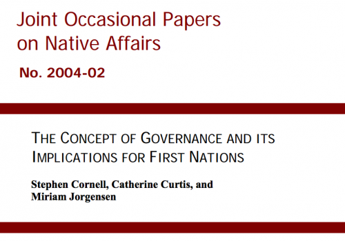 The Concept of Governance and its Implications for First Nations